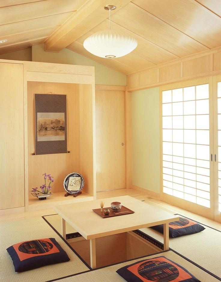 Оригинальный складной столик, вмонтированный в пол, при необходимости освободить пространство, быстро справиться со своей задачей