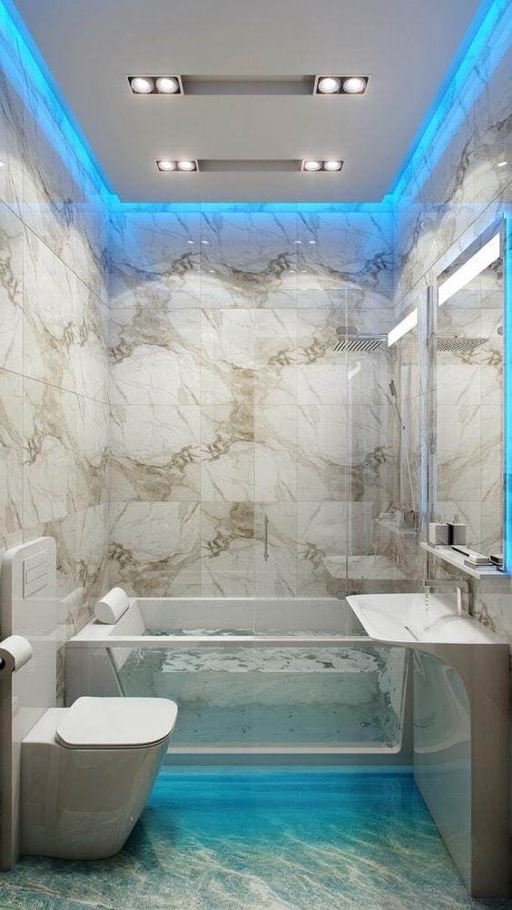 Неоновая подсветка, навеивающая стиль морской тематики, станет отличным дополнением в интерьера ванной комнаты