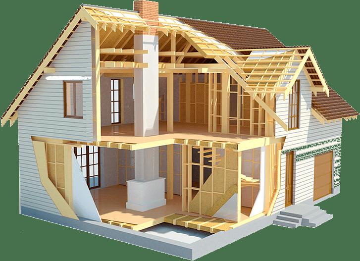 Макет двухэтажного каркасного дома в разрезе