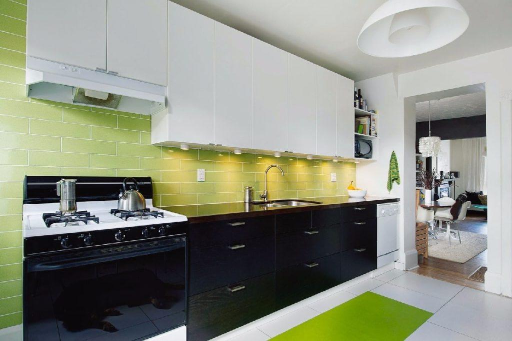 Black and white tile kitchen backsplash