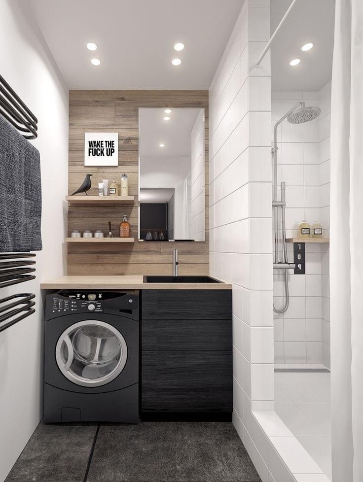 Красивый дизайн маленькой ванной 2021 в современном стиле