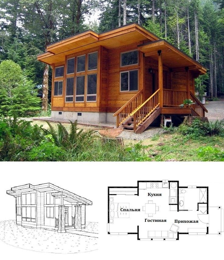 Одноэтажный деревянный дачный домик в классическом стиле