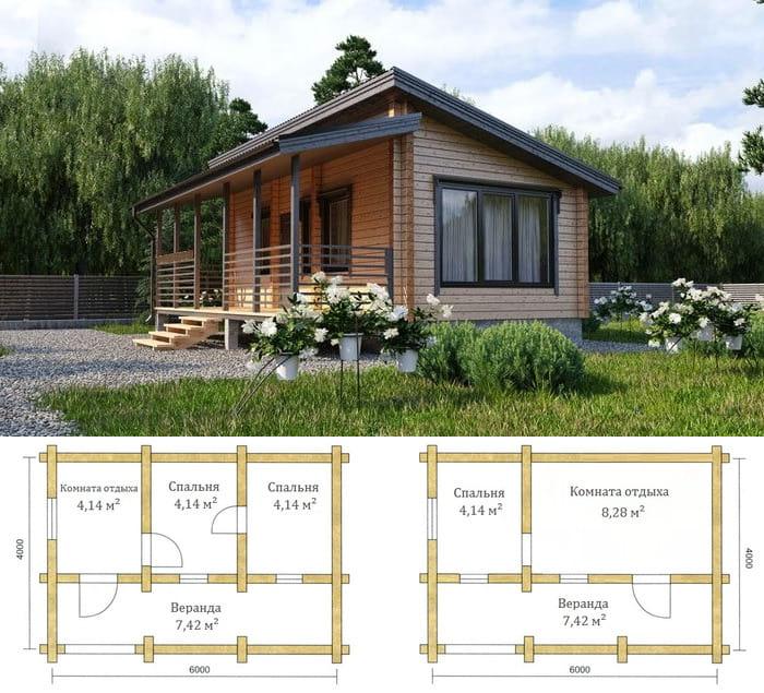 Проект дачного дома 6 на 4 в разных планировках