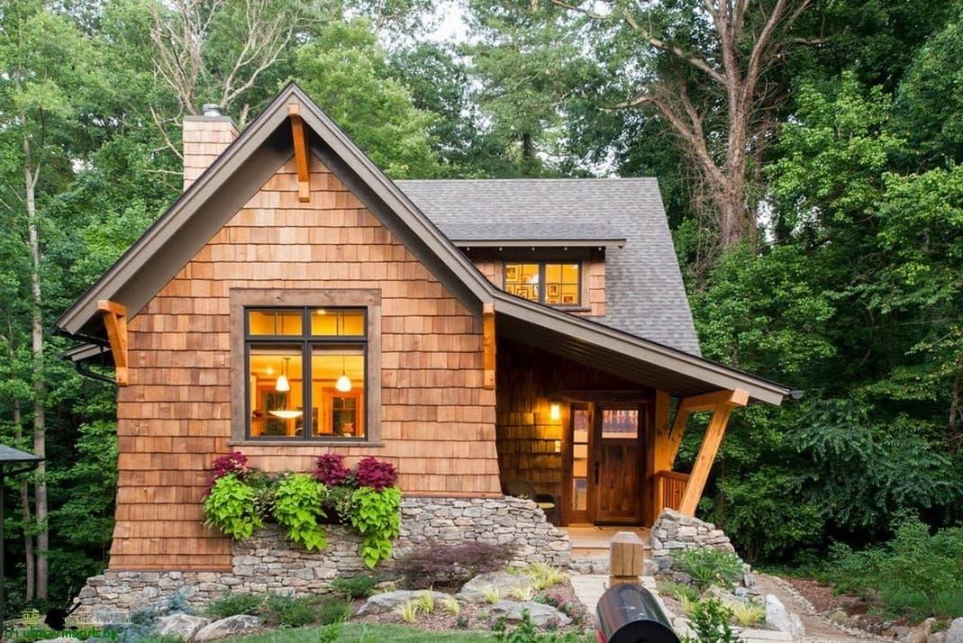 Оригинальная идея садового домика в стиле шале