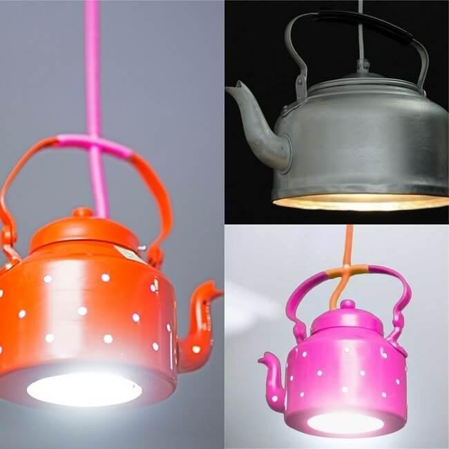 Варианты применения чайника в качестве плафона для светильника