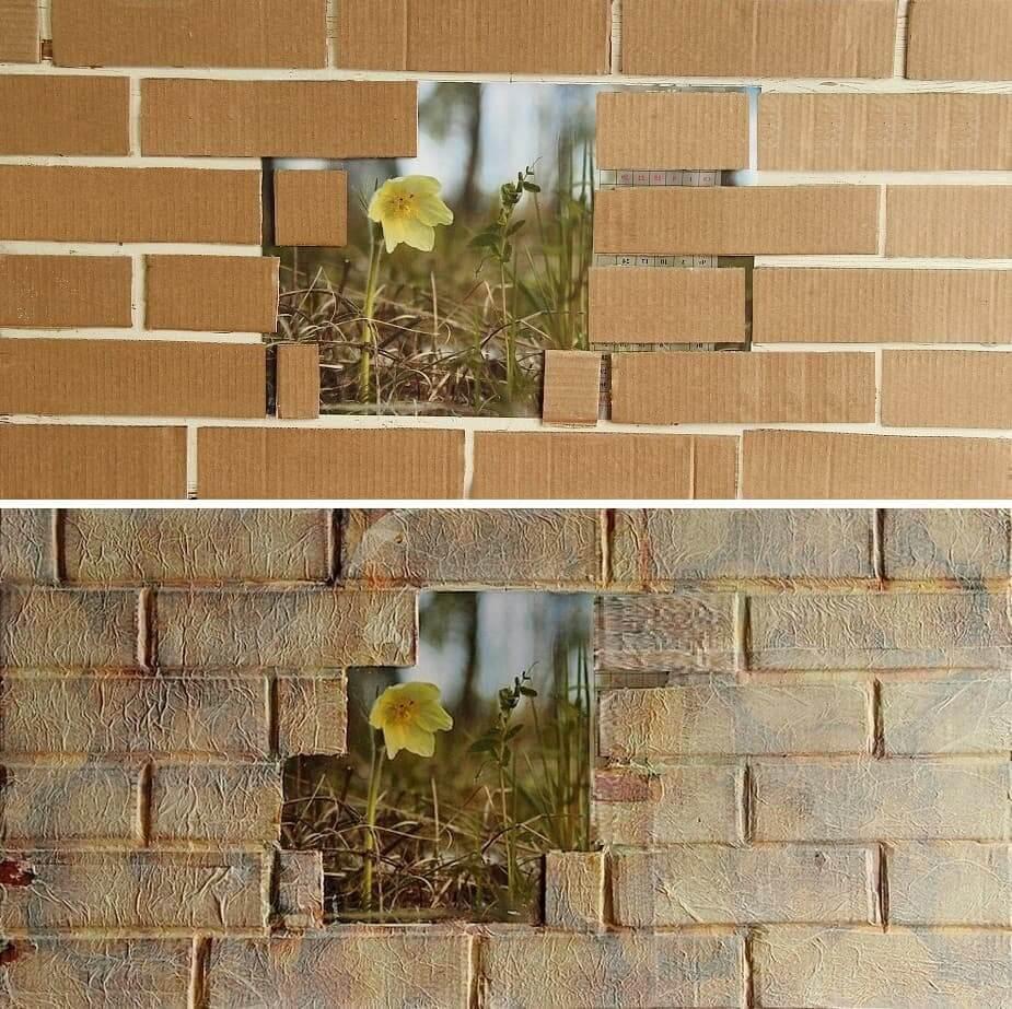 Кирпичная стена из картона