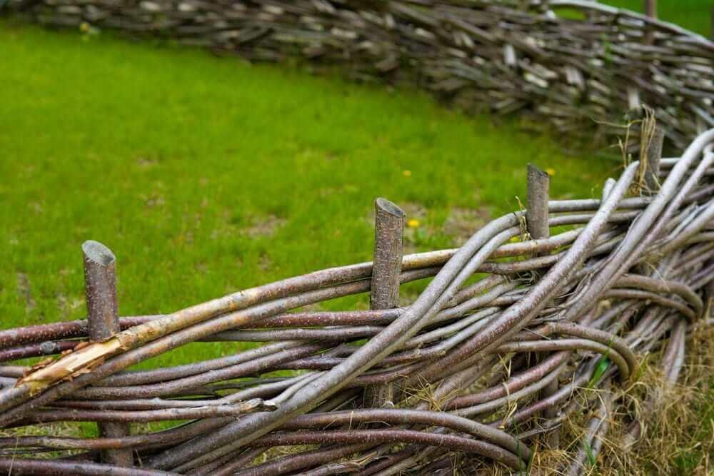 Для плетения забора следует использовать прутья гибких пород дерева, например ивы или лозы