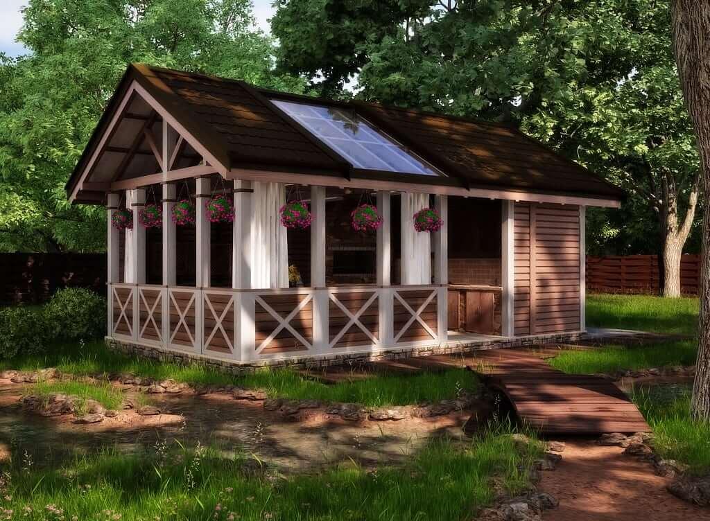 Проект летней кухни с двухскатной крышей