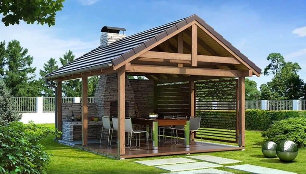 Стильный дизайн современной летней кухни изготовленной из натуральных материалов