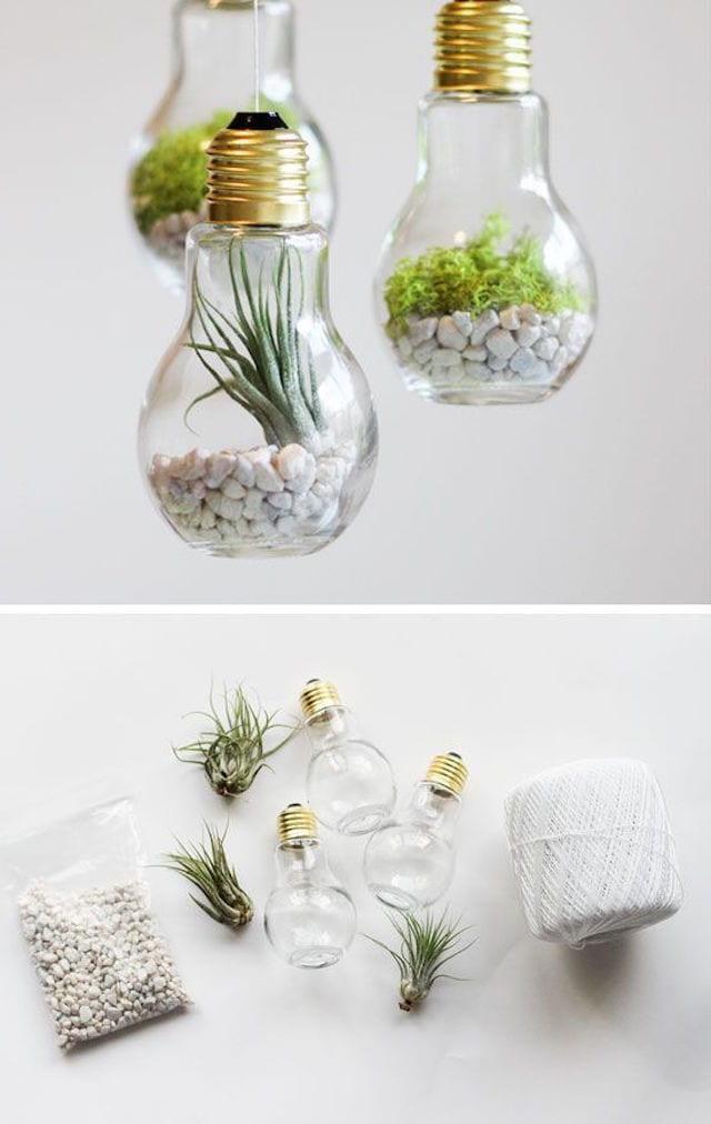 Миниатюрный сад в лампочках сделанный собственными руками - станет отличный подарком для творческого человека