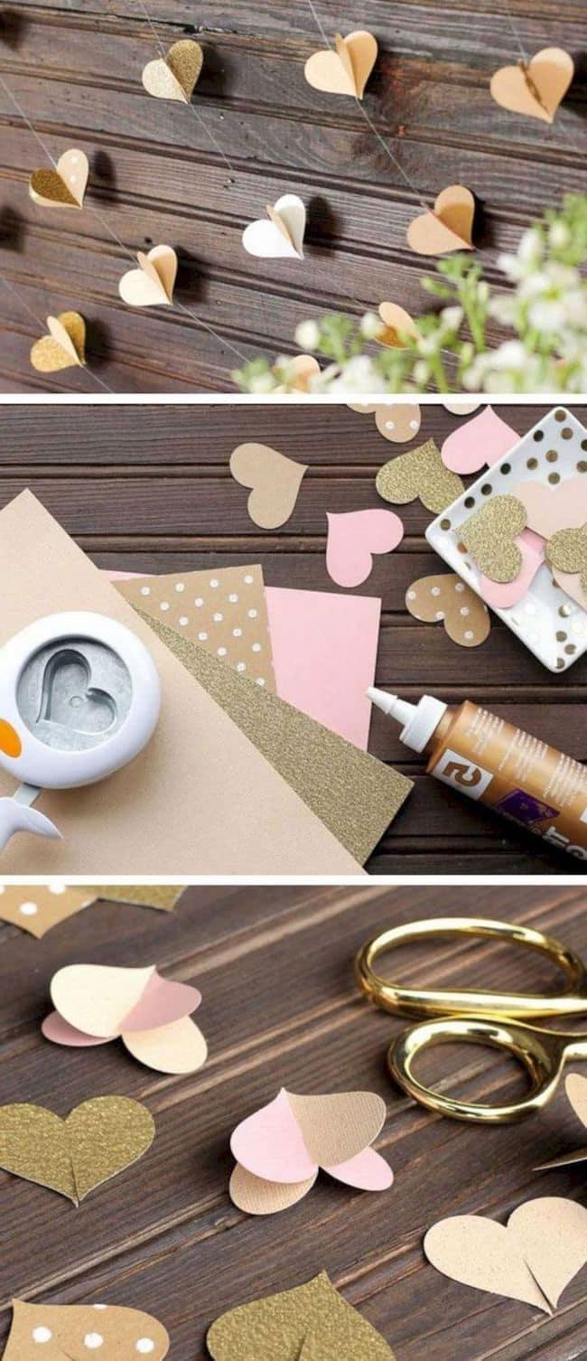 Гирлянда из сердечек станет отличным украшением для романтичного праздника