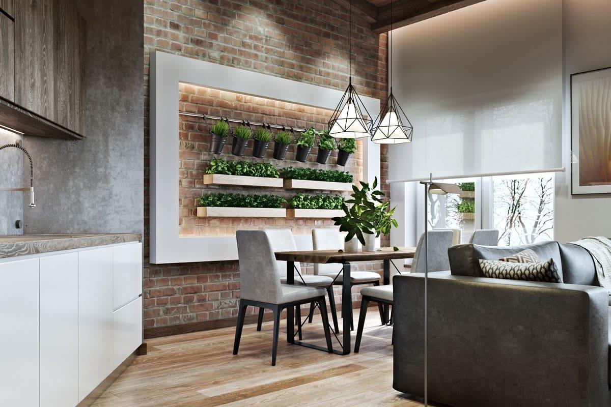 Контрастная кухня в стиле хай-тек с эффектной вертикальной клумбой на стене