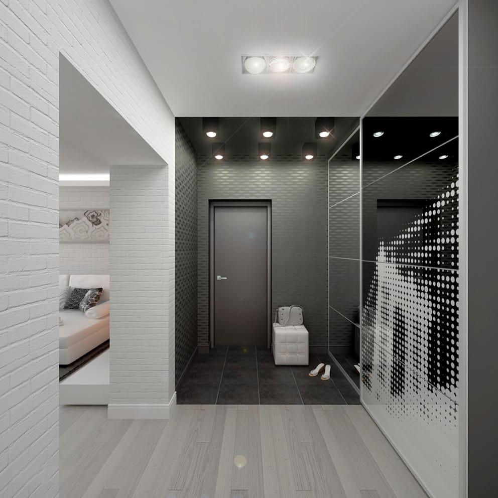 Классическое сочетание черного и белого цвета в стильном интерьере хай-тек