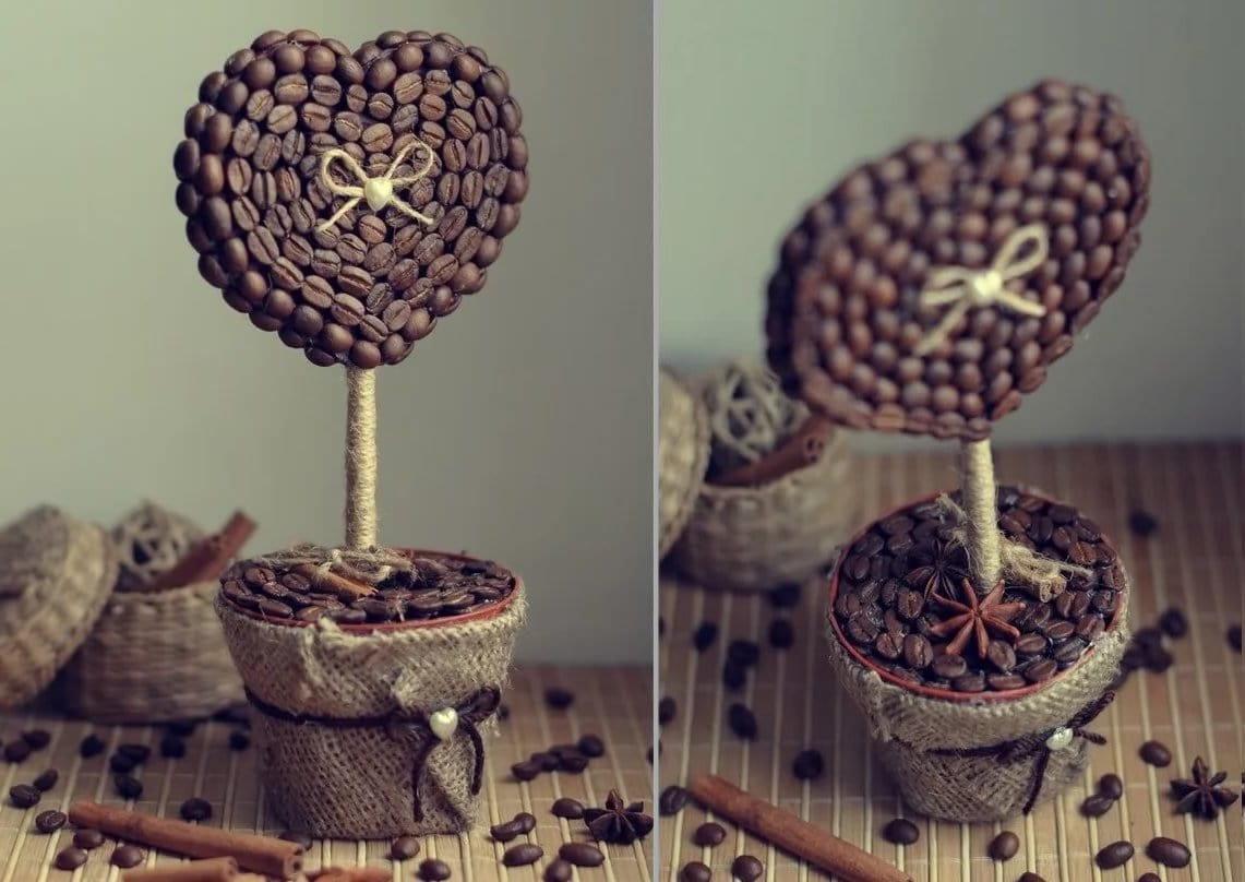 Необычное дерево из кофейных зерен станет прекрасным подарком на День Святого Валентина
