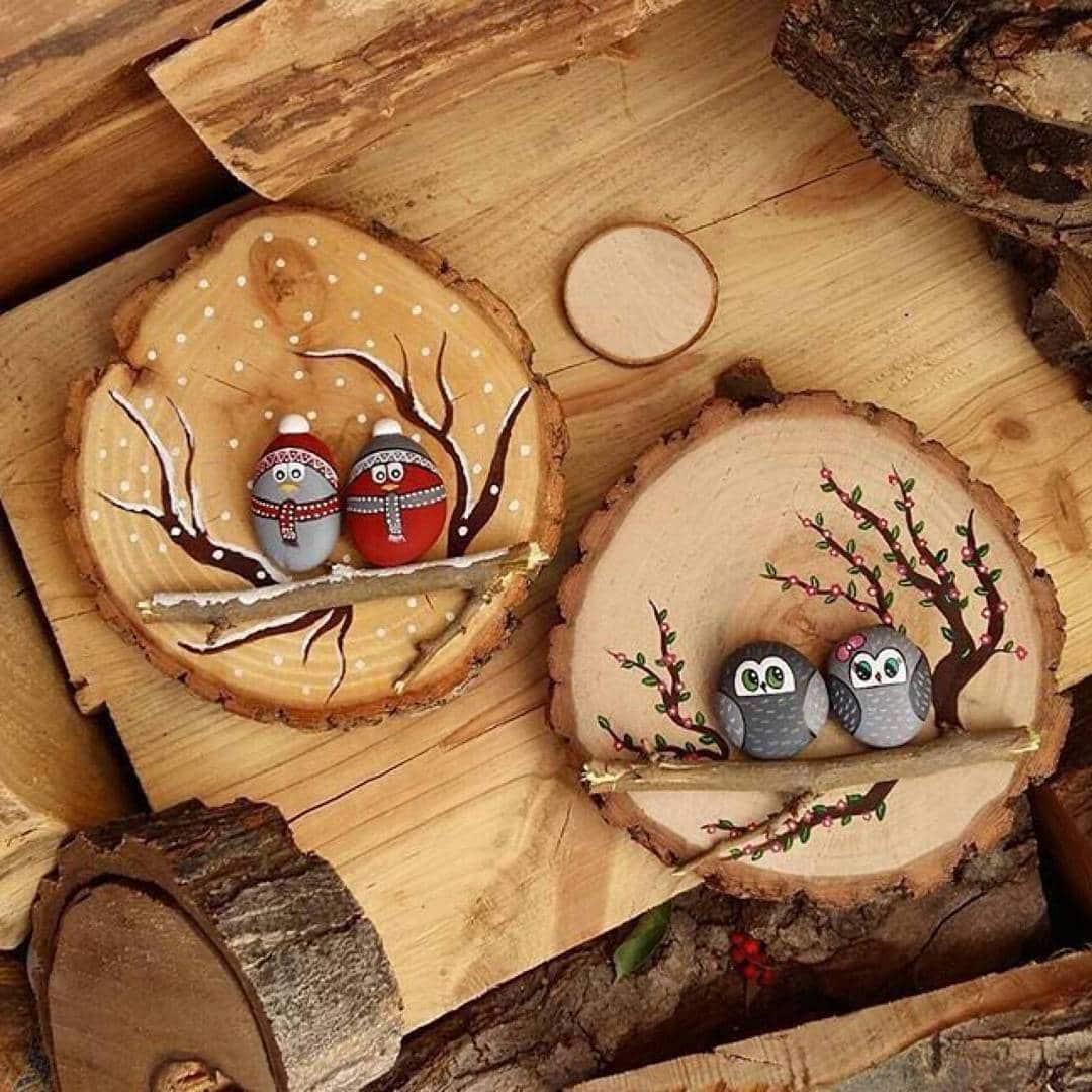 Из обычных и на первый взгляд непримечательных древесных спилов получается отличный элемент декора