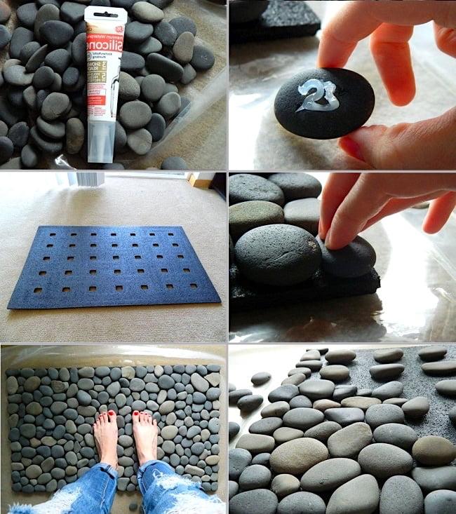 Как сделать коврик из гальки? Очень просто. Приклейте камешки с помощью специального клея к резиновому основанию