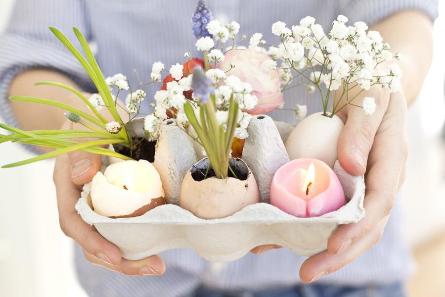 Сделайте оригинальный подарок для своей второй половины, создав красивую цветочную композицию из скорлупы яиц