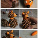 необычная лиса из шишки своими руками