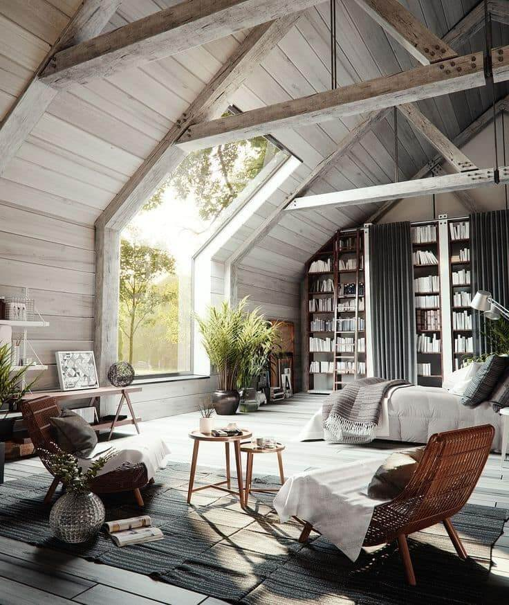 Выбеленная доска на потолке и стенах хорошо подчеркнет лаконичность и красоту помещения