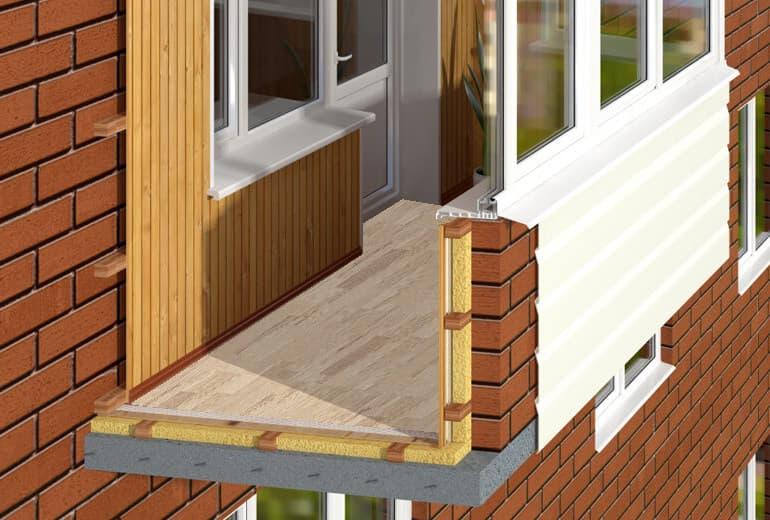 Чтобы не допустить промерзания стен на балконе - они также должны быть хорошо утеплены