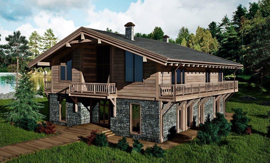 Открытый балкон украсит внешний вид дома, внося ту изюминку, присущую стилю шале