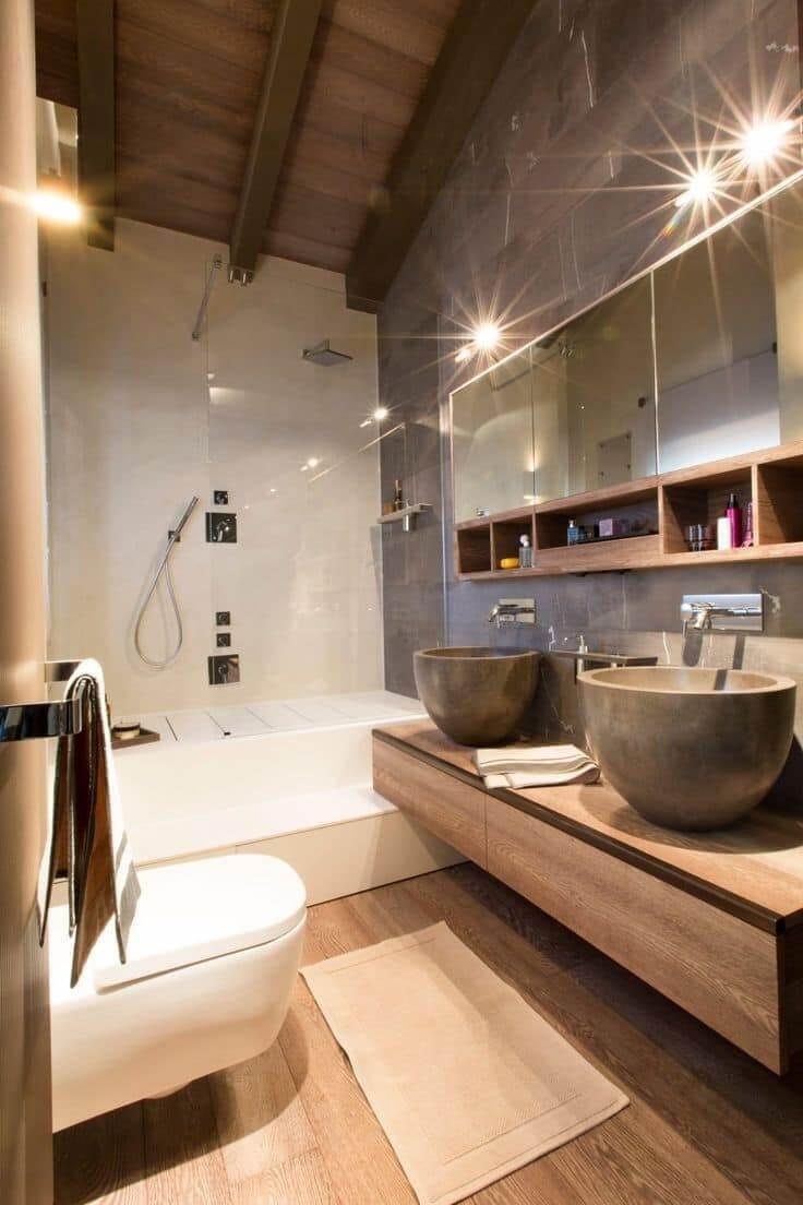 Натуральность и практичность - основные критерии оформления интерьера ванной в стиле шале