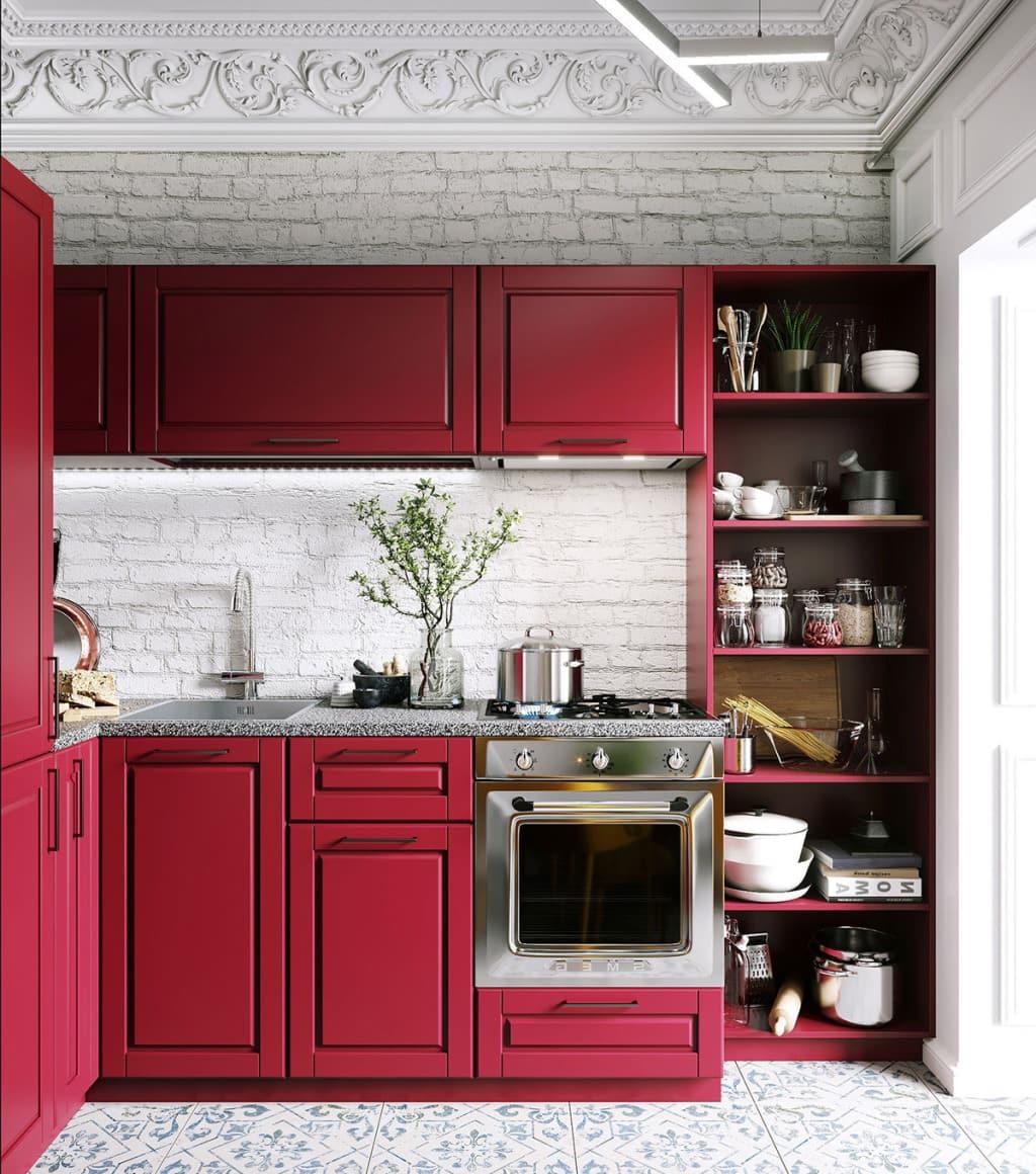 Тандем красного с белым способен задать настроение и преобразить небольшое кухонное пространство