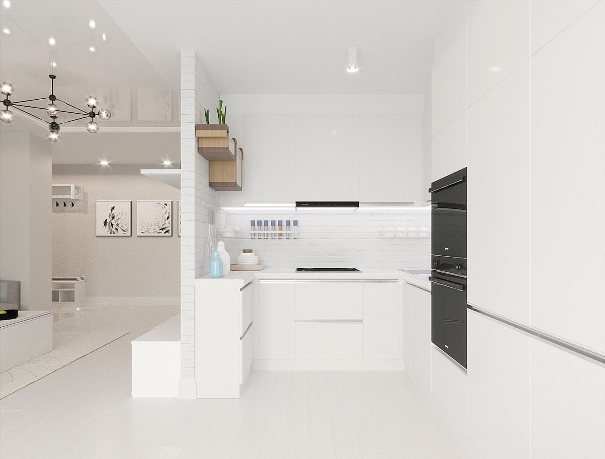 Стильный интерьер компактной кухни в белоснежной гамме