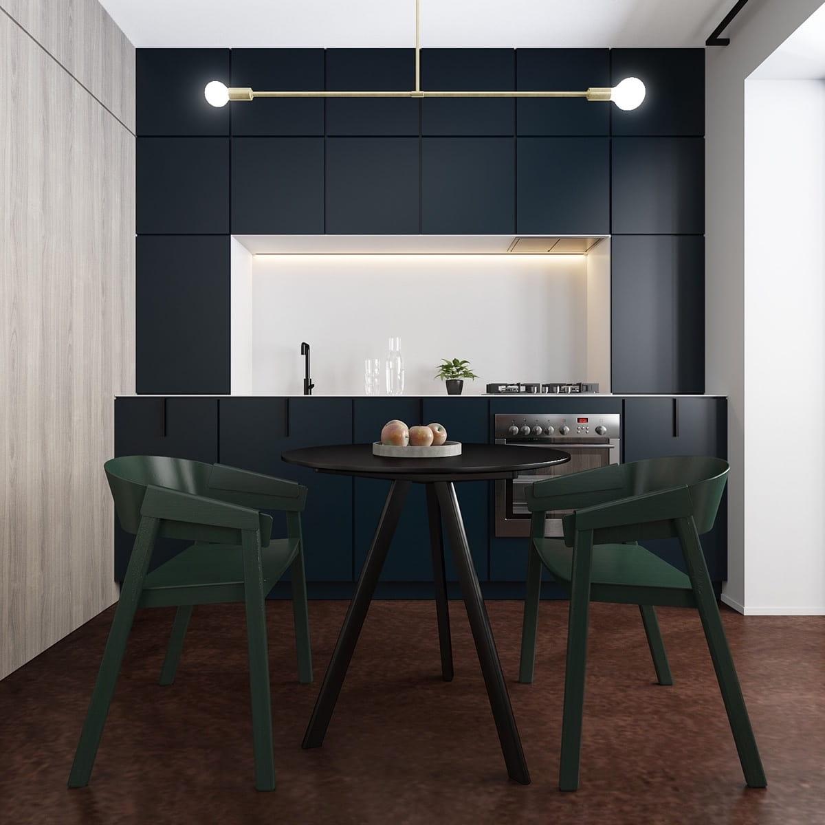 Стильная черная кухня в минималистическом стиле