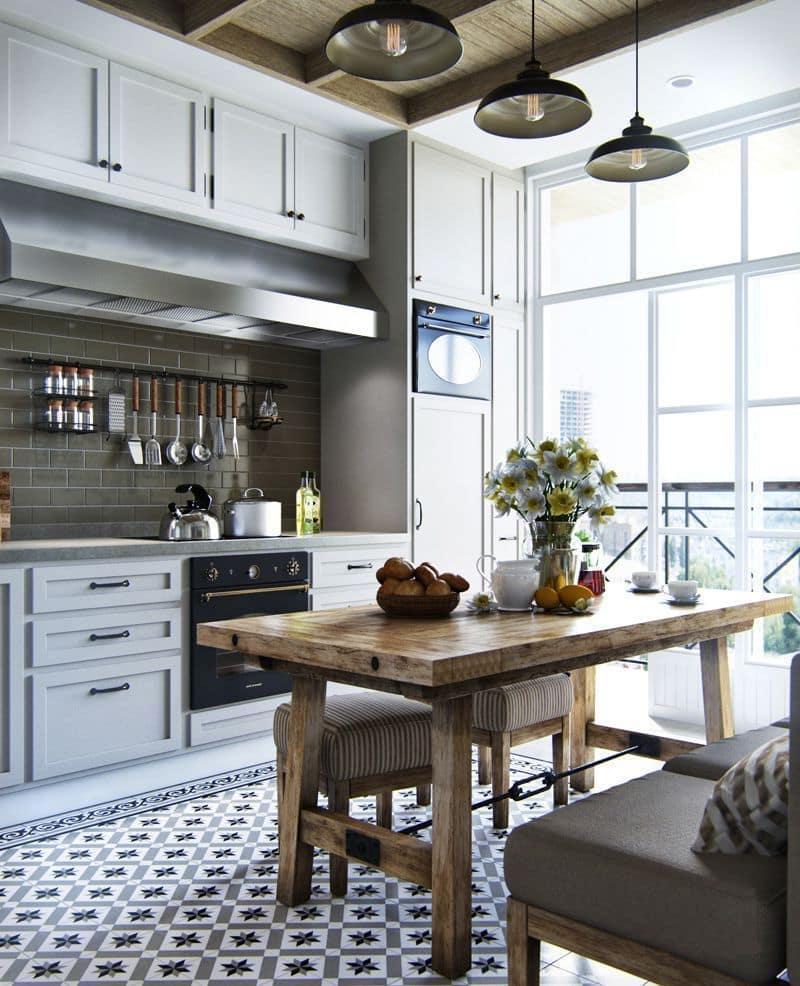 Вариант объединения лоджии с кухней больше подходит для жилищ, расположенных в регионах с мягкой зимой