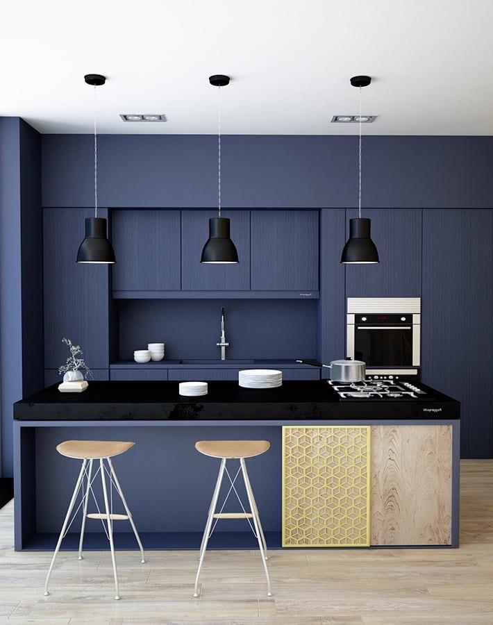 Синий цвет никогда не выходит из моды, используйте его при оформлении интерьера если хотите всегда иметь стильную и красивую кухню