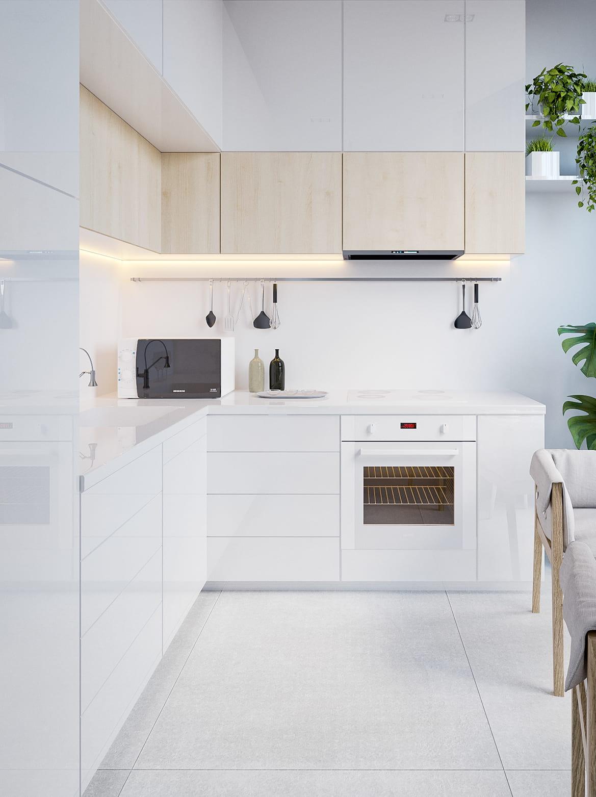 Выразительный интерьер белой кухни с хорошо сбалансированным LED освещением рабочей зоны