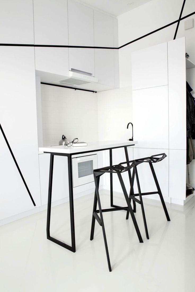 Красивая крохотная кухня в стиле минимализм
