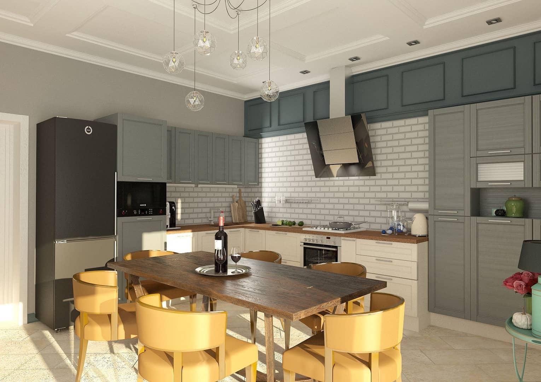 Красивый интерьер кухни в теплых тонах