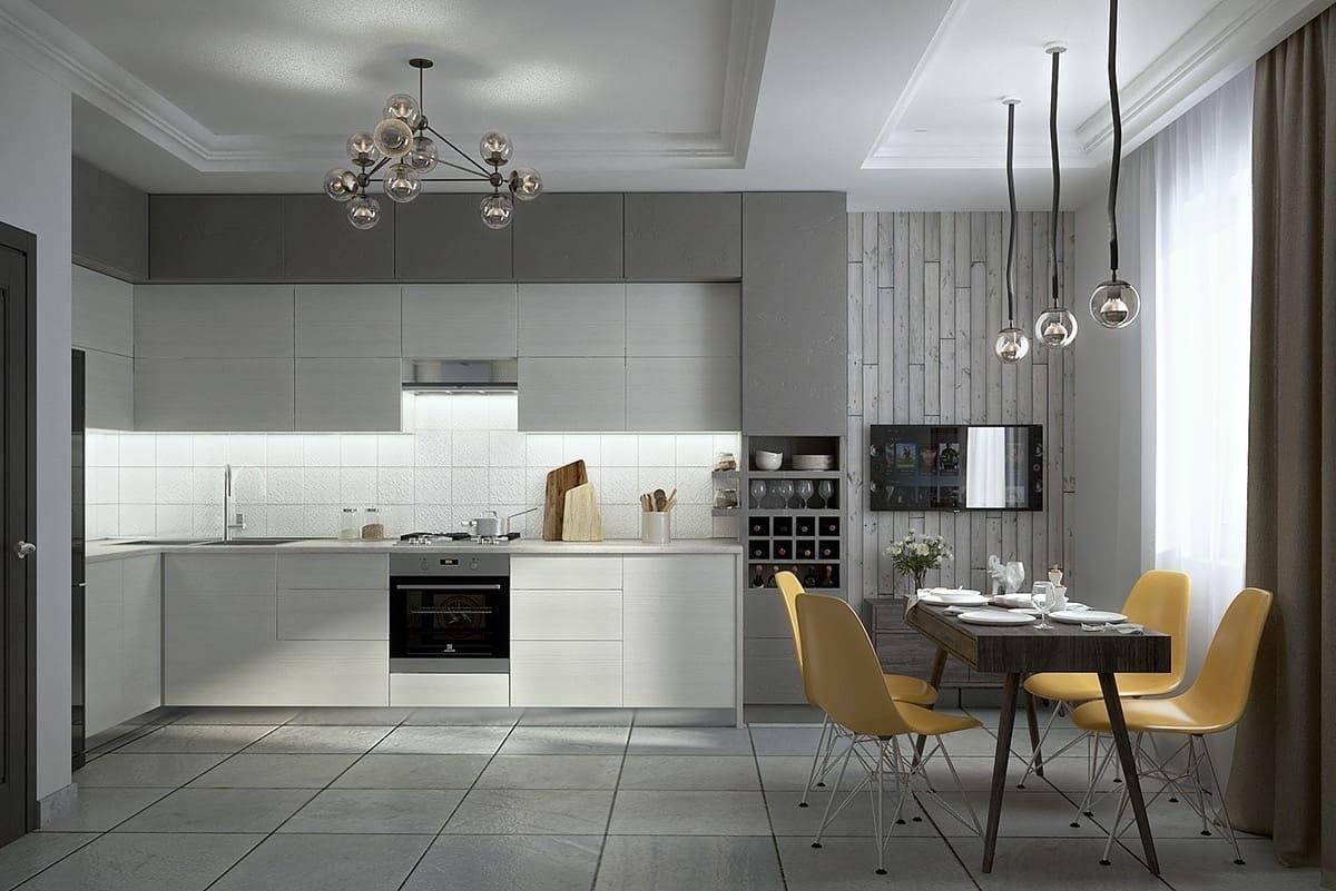 Лаконичная простота скандинавского интерьера кухни в серых тонах подкупает своей легкостью и основательностью