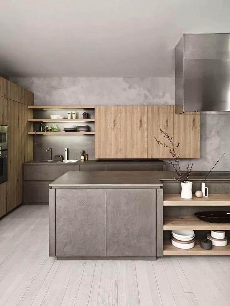 Серая столешница - модное и востребованное решение на пути к созданию функционального кухонного интерьера
