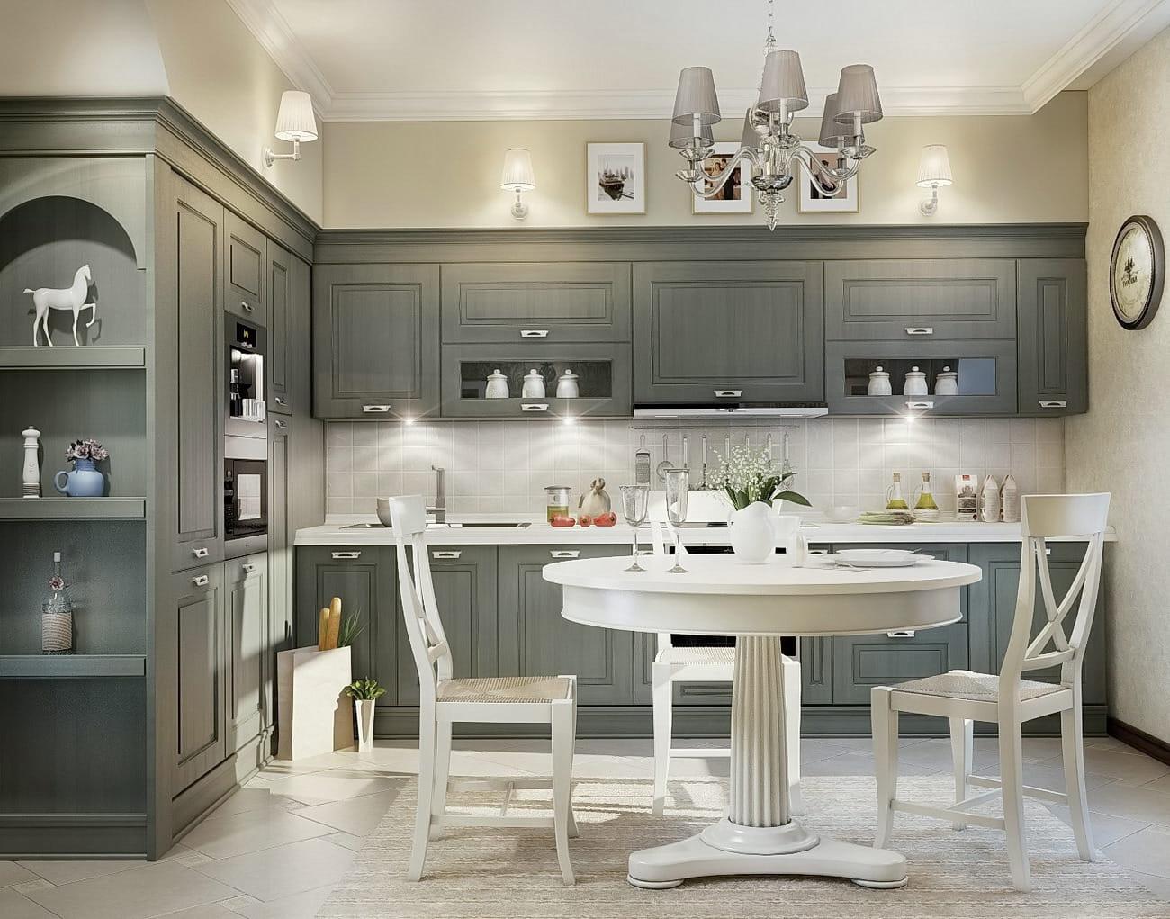 Богатство оформления серой кухни в классическом стиле просматривается в каждом сантиметре её площади