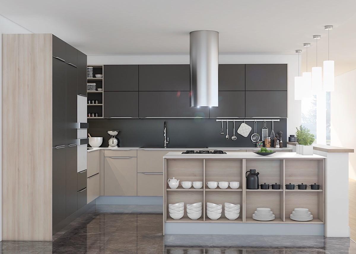 Удобная и функциональная кухня, совмещенная с гостиной