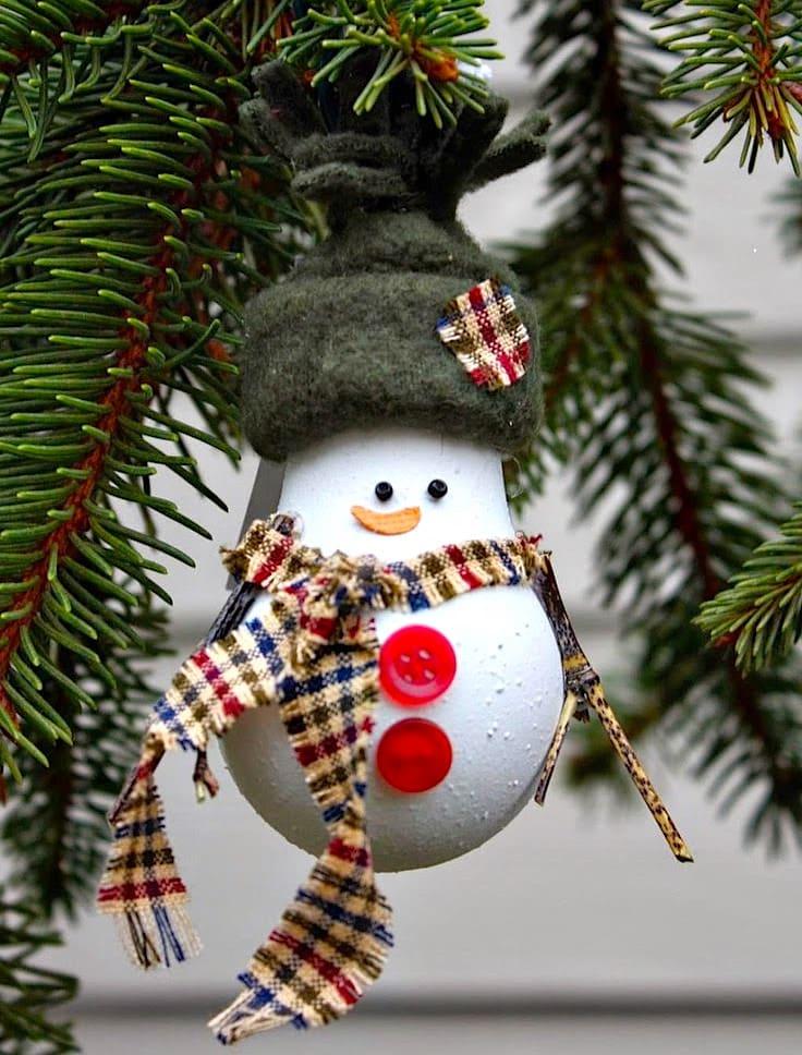 Веселый снеговик сделаный из обычной лампочки создаст атмосферу сказки на вашем любимом празднике
