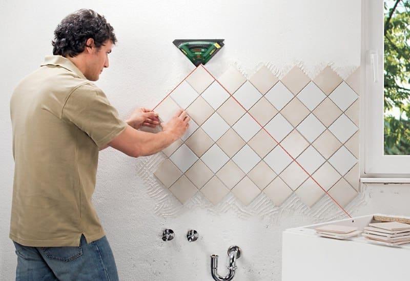Диагональный способ укладки керамической плитки на стену