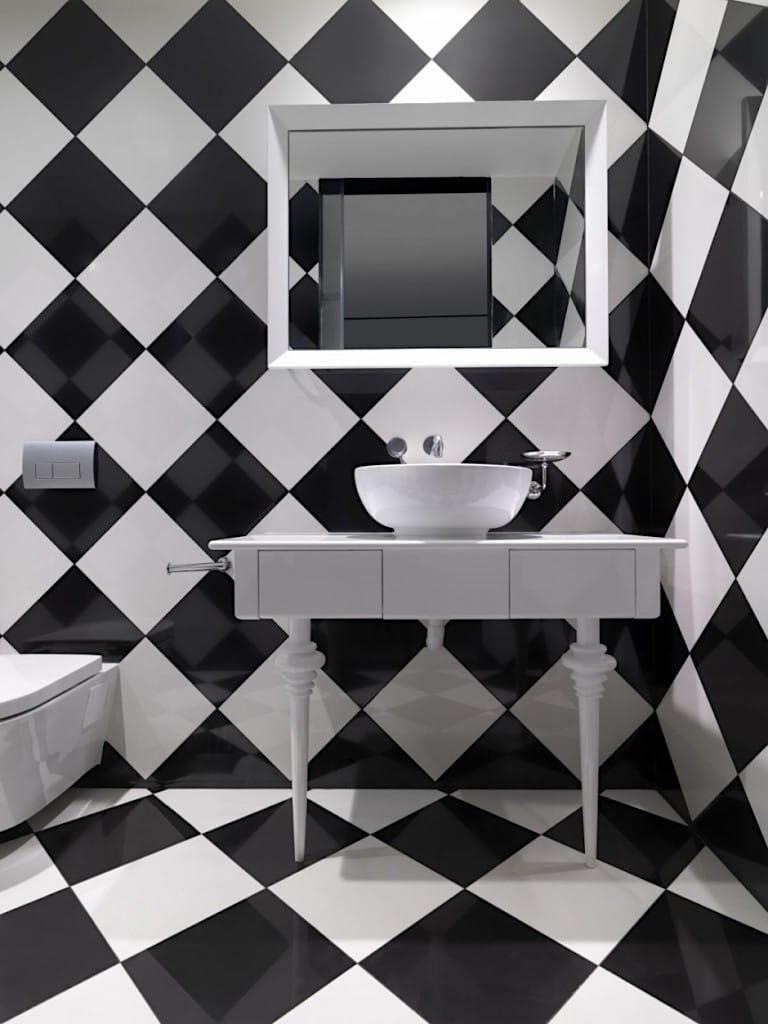 Укладка плитки в ванной в шахматном порядке