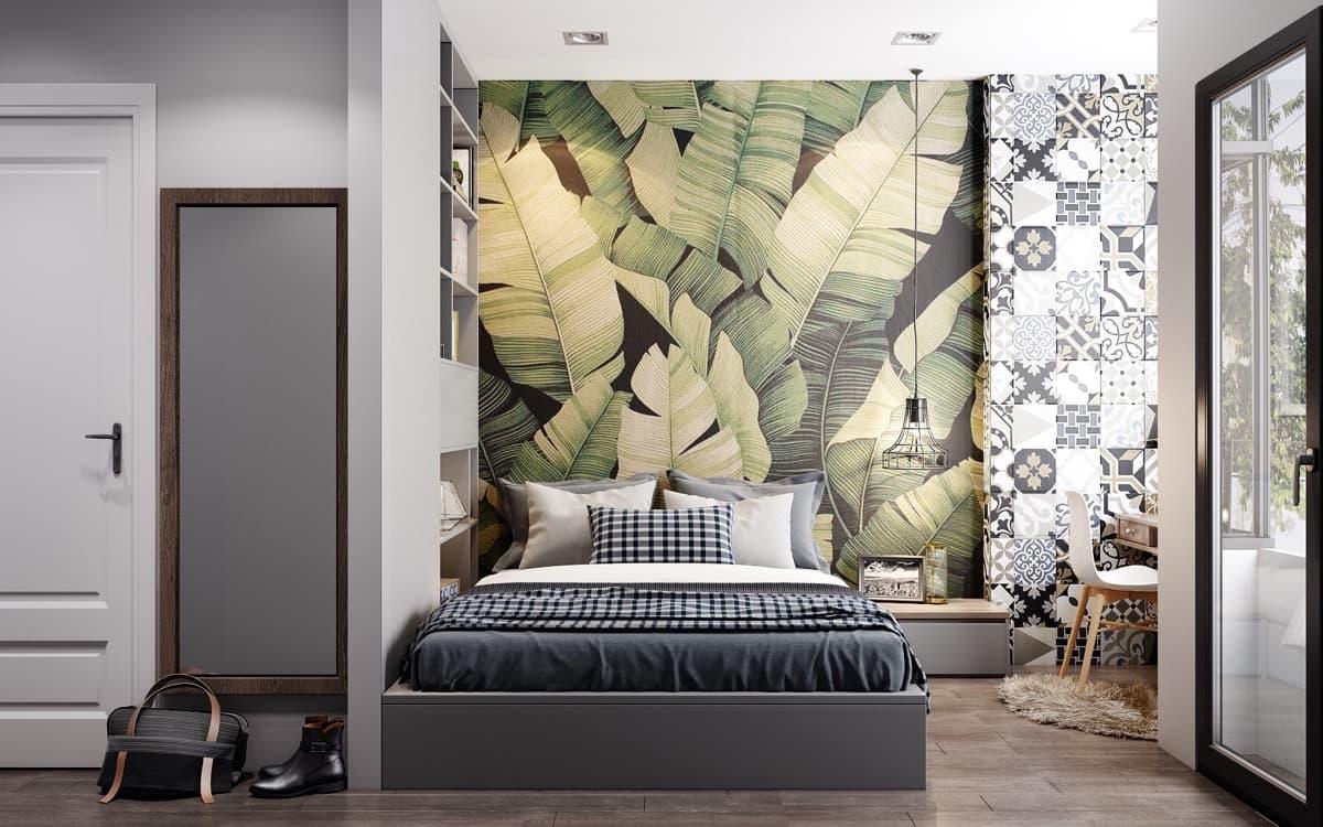 Лаконичный дизайн спальни с красивыми обоями на стене