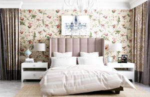 интерьер спальни с красивыми обоями