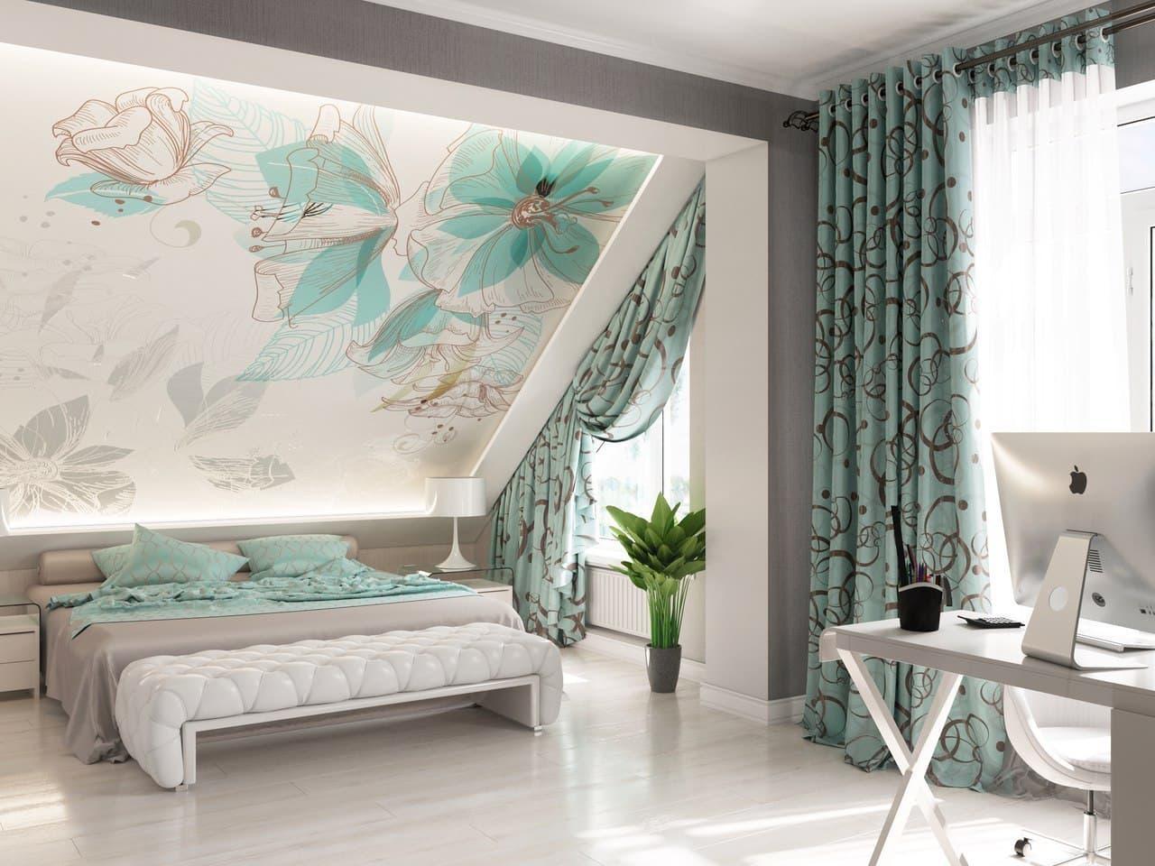 Если обои и шторы хорошо гармонируют, то такой дизайн интерьера можно назвать идеальным