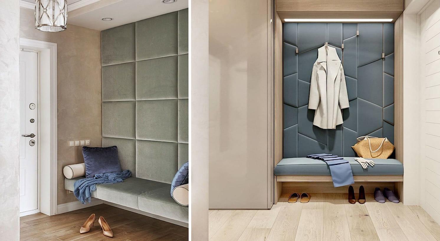 Отделка стен в прихожей мягкими панелями смотрится стильно и оригинально