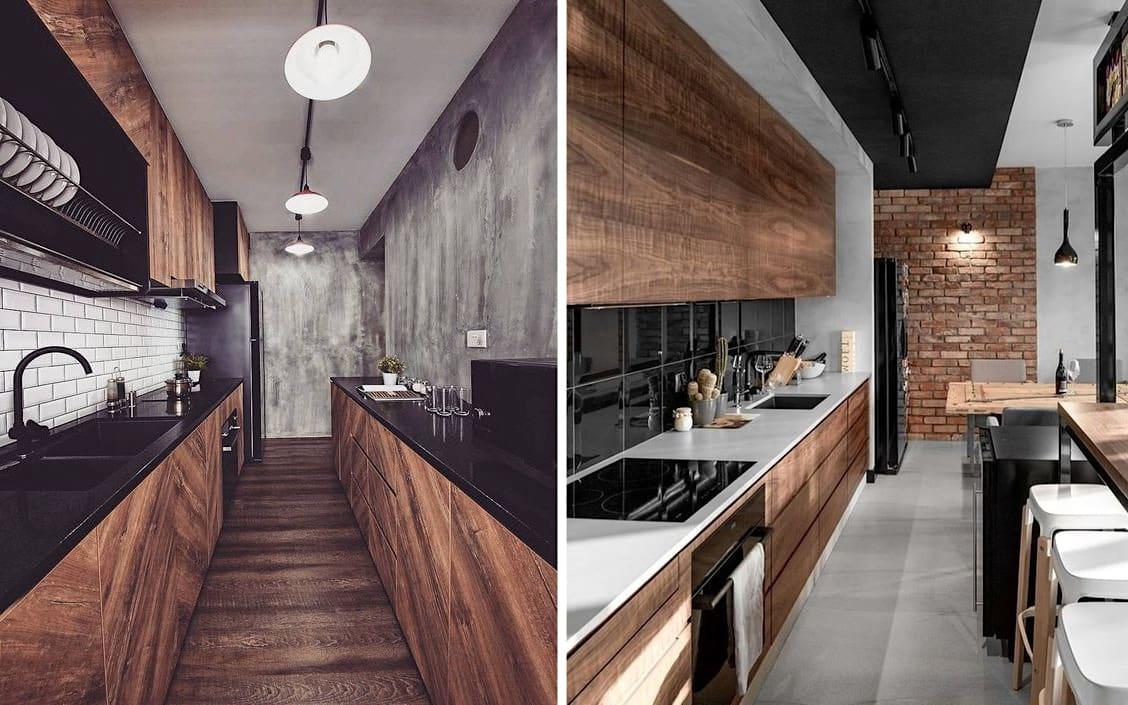 Брутальный дизайн узкой кухни в стиле лофт - идеально подойдет для оформления мужского интерьера