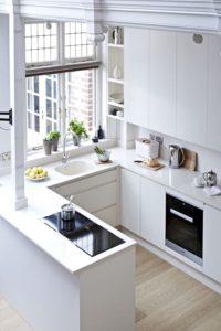 мебель для узкой кухни с глянцевыми фасадами