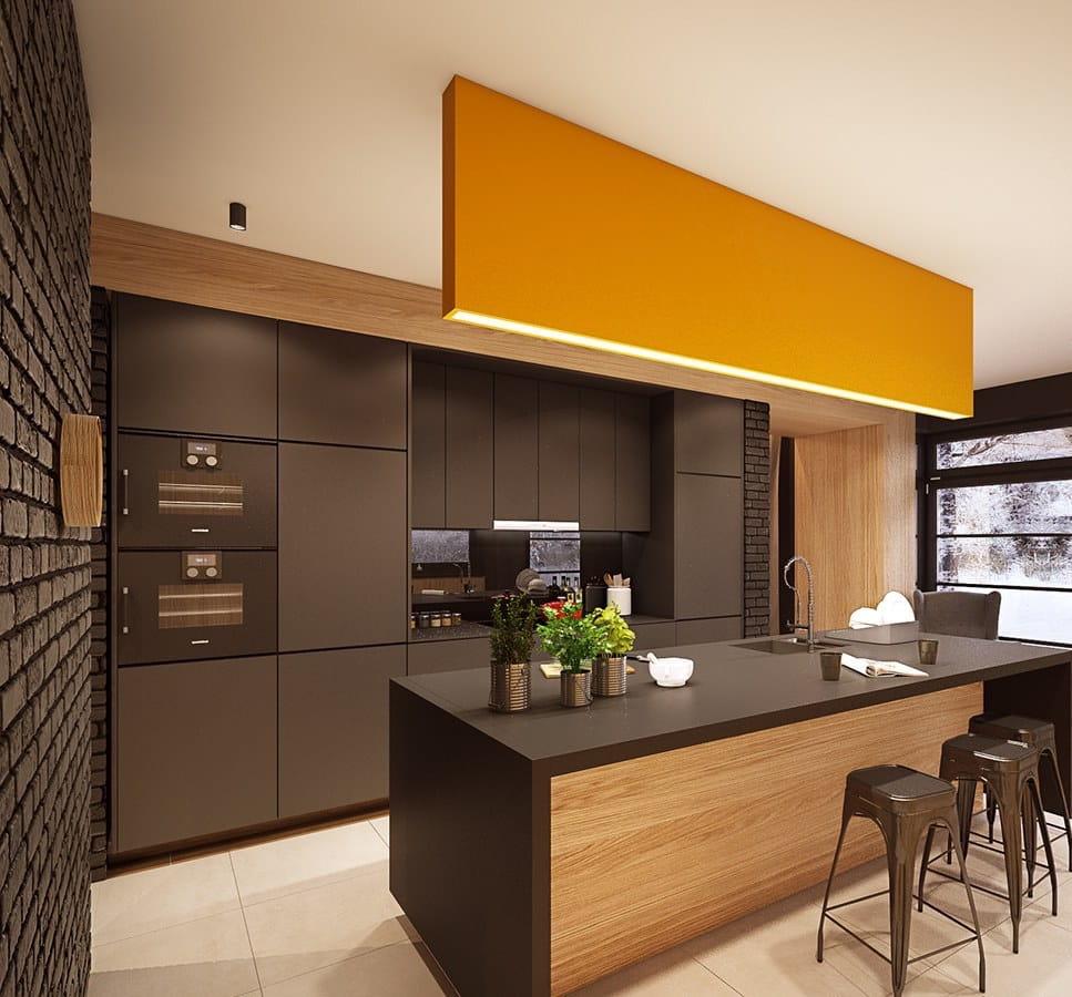 При организации освещения на кухне важно учесть функционал и общую стилистику интерьера