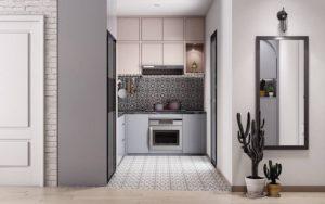 узкая длиная кухня