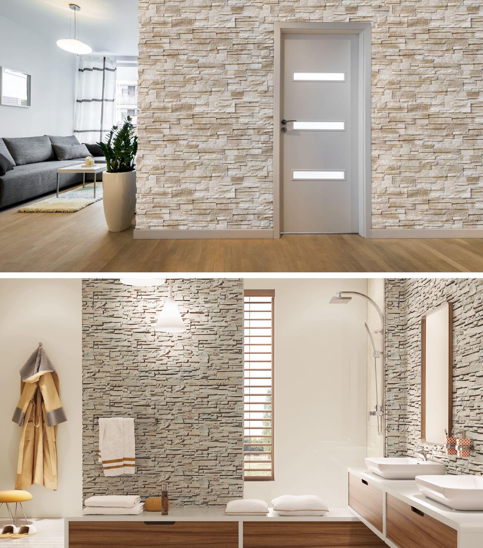 Невероятно красивый и стильный интерьер гостиной и ванной комнаты в скандинавском стиле
